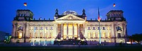 Exterior of Reichstag building at night, Berlin, Germany