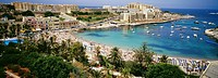 View over St. George's Bay, Malta, Mediterranean, Europe
