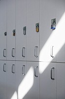 Row of school lockers with Padlocks on doors