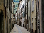 A narrow cobbled street in Breil-sur-Roya in southern France