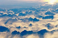Evening light over a mountain range on Greenland, from above (October 2005)