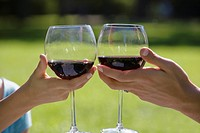 Close_up of two people's hands toasting wineglasses, outdoors