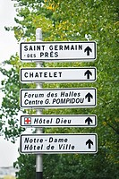 Signpost showing tourist attractions, Paris, France