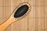 Close up of hair brush