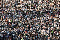 Crowd of spectators at concert in Olympic park, Munich, Bavaria, Germany