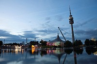 Olympic stadium and tower at night, Munich, Bavaria, Germany