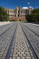 Maximilianeum and tram tracks on cobbled road, Munich, Bavaria, Germany