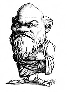 Socrates. Caricature of the Ancient Greek philosopher Socrates c.470_399 BC. Socrates is credited with introducing a new and critical attitude in phil...