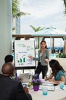 Hispanic businesswoman giving presentation on patio