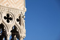 Detail on corner of Doges Palace, Venice, Italy