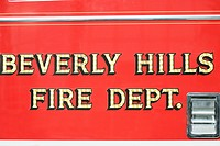 Beverly Hills fire engine, Los Angeles, California, USA
