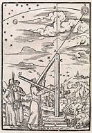 Ptolemy´s ruler, 16th century artwork. This instrument was used to make measurements of the orbits of the planets. Ptolemy is the figure using the ins...