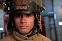 Close up of Hispanic fireman
