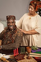 African couple celebrating Kwanzaa