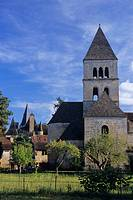 France, Dordogne region, Vezere River valley, St  Leon-sur-Vezere, Romanesque church, chateau