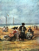 On the Beach´ detail c1863. Oil on board: Eugene Boudin 1824_1898 French landscape and marine painter. Women sitting in chairs on the sand.