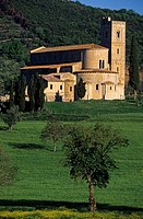 Italy, Tuscany, San Antimo Abbey in the South of Siena