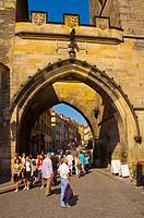 Gate leading to Mala Strana from Charles Bridge central Prague Czech Republic EU
