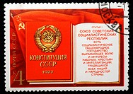 Constitution of Soviet Union, postage stamp, USSR, 1977