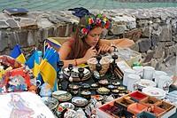 Souvenirs vendor, Museum of folk architecture and folkways, Uzhhorod, Zakarpattia Oblast Transcarpathian Oblast, Transcarpathia, Zakarpattya, Subcarpa...