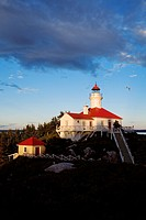 Canada, Quebec Province, Ile du Pot a l'Eau de vie, lighthouse in the middle of the Saint Lawrence River restored in to touristic lodgings and managed...
