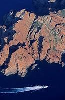 France, Corse du Sud, Scandola Reserve aerial view