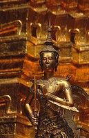 Thailand, Bangkok, buddhist temple, golden Buddha in front of the Stupa