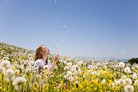 Girl in meadow blowing dandelion seeds