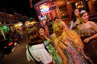Young women in a bachelor party celebration at Bourbon Street, French Quarter, New Orleans, Louisiana, USA