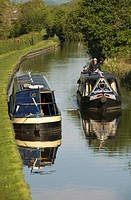 Narrow boats on the canal, Llangollen Canal, England, UK