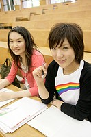 Two young women at classroom