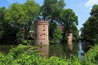 D-Castrop-Rauxel, Ruhr area, North Rhine-Westphalia, D-Castrop-Rauxel-Bladenhorst, Castle Bladenhorst, moated castle, castle tower, Late Renaissance, ...