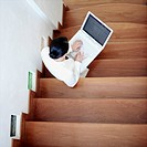 High angle view of a businesswoman using a laptop (thumbnail)