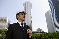 Businessman wearing a hard hat