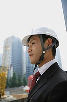 Businessman with a hard hat