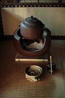 View of metallic teapot over a small oven