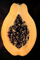Close_up of a sliced papaya