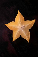 Close_up of a sliced star fruit