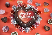 High angle view of a heart_shaped cake