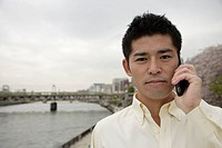 A young man using cellphone