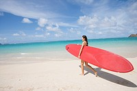 A woman walking on beach with surfboard in hand (thumbnail)