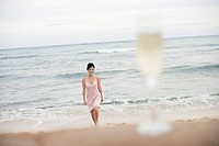 View of a woman walking on beach