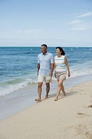 View of a couple walking at beach