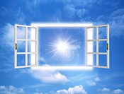View of bright rays through open window digital composite
