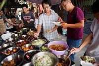 China Shanghai: stall of food in Shitan alley