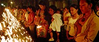 Praying people in the Santo Nino Cathedral, Cebu CIty, Cebu Island, Philippines