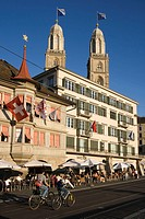 Switzerland Zuerich, Grossmunster, Limmatquai, street cafe