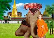 Young man standing with elephant while temple in background