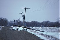 Ice Damage to electric wire and phone lines during April ice storm, N Dakota