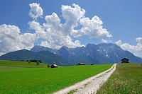 wide path in pasture with haystacks leading towards mountain range, Mittenwald, Karwendel range, Upper Bavaria, Bavaria, Germany